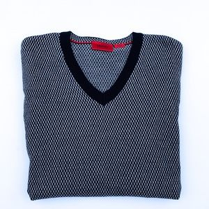 HUGO Hugo Boss Gray and Black V-Neck Sweater XL
